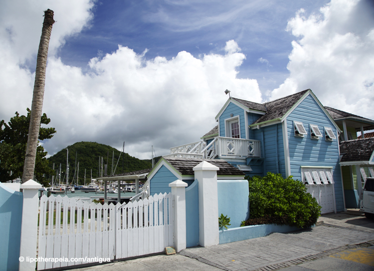 "Colourfully painted house, ""Caribbean style"", at Jolly Harbour, Antigua"