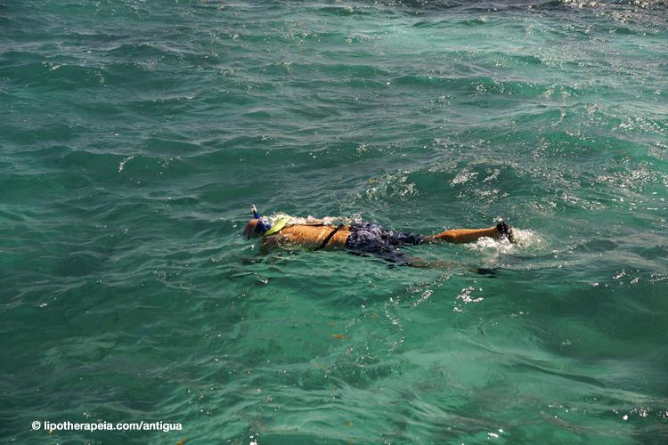 Snorkelling in the open sea off the Sea Escape vessel, Antigua