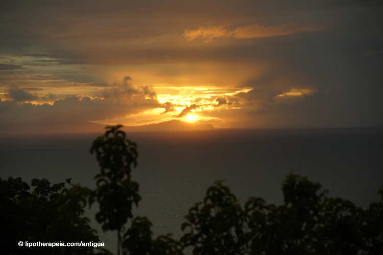 Sunset over Monserrat, as seen from Shirley heights, Antigua