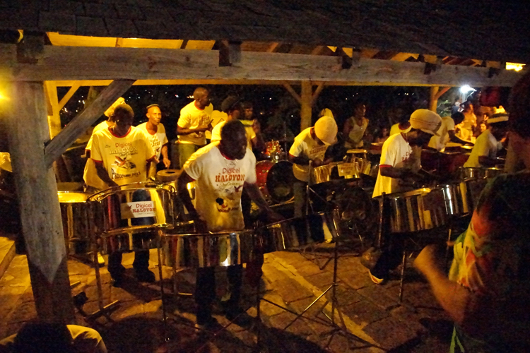The internationally acclaimed steel band, in action at Shirley Heights, Antigua