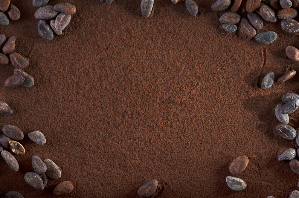 Cocoa powder and cocoa pods