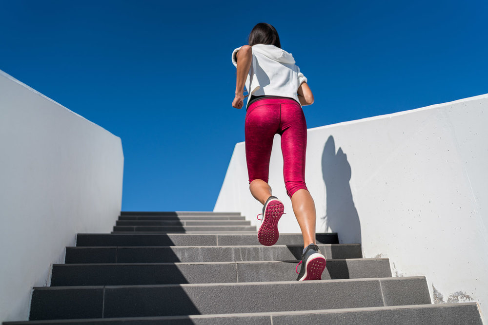 Uphill interval running - fast step climbing for cellulite