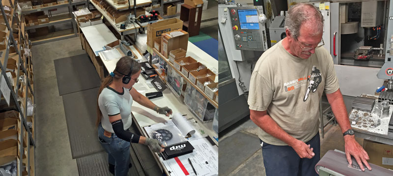 (Left) All aftermarket product is assembled in our Grand Junction, CO facility. At right, also in our Grand Junction facility, a machinist puts the finishing touches on a freshly cut 1x bracket.