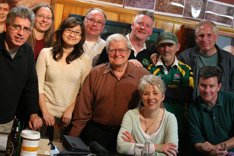 Author Mary Doria Russell. Clockwise from the left are: Juan Quirarte, Jennifer Newyear, Jia Wang, Jim Gerber, Joe Nagy, Timothy Herron, Larry Zuzik, Jeff Suntala  and Howard Collier.