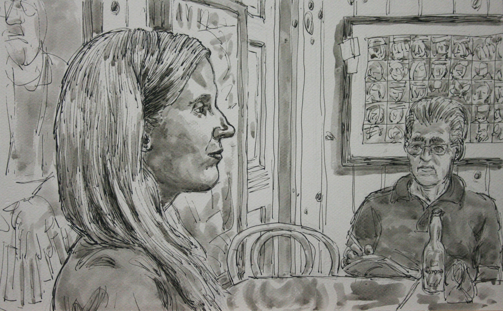 Jack Flotte did this 3-hour ink and wash drawing.