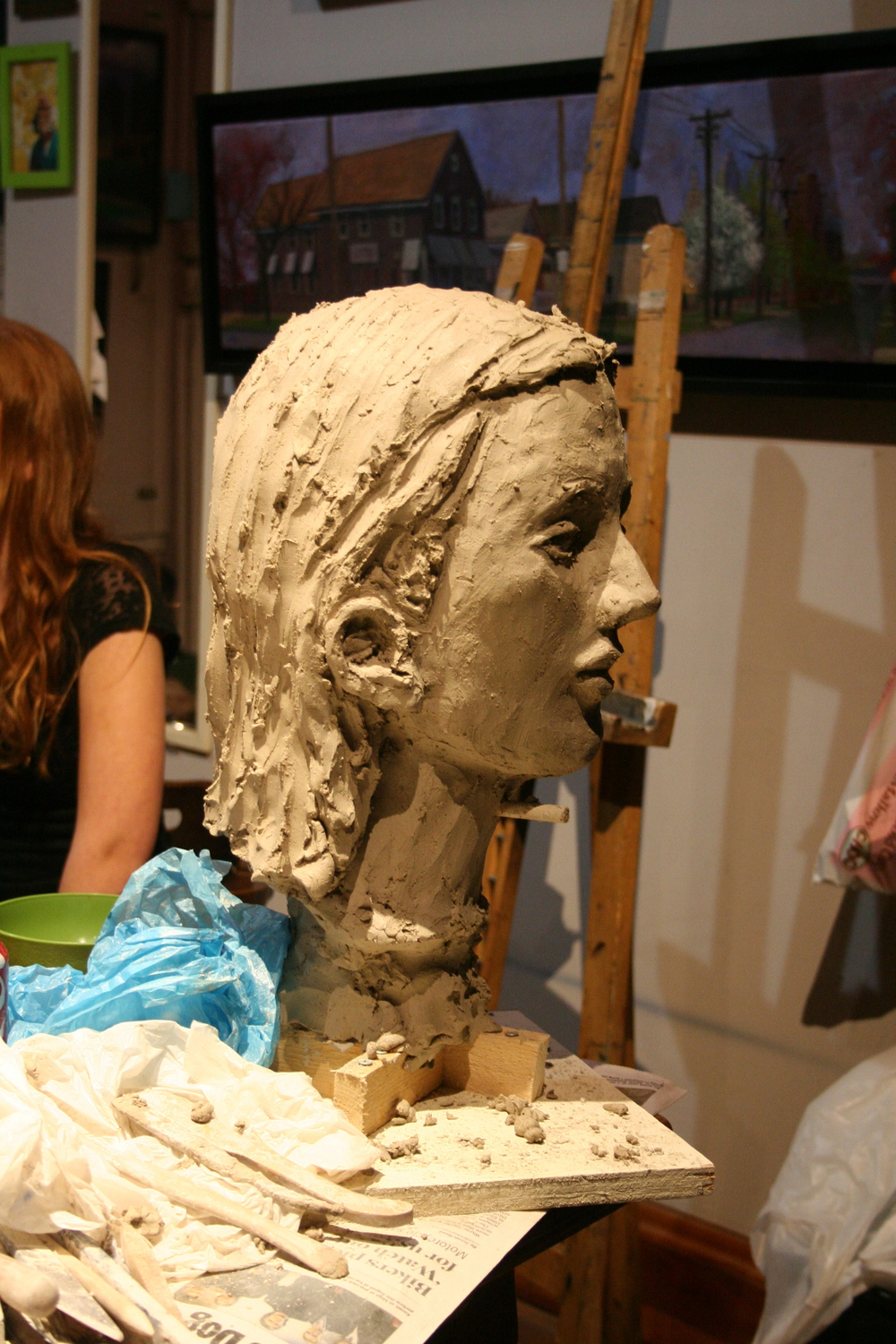 Profile of Jack Flotte's clay bust of Samantha.