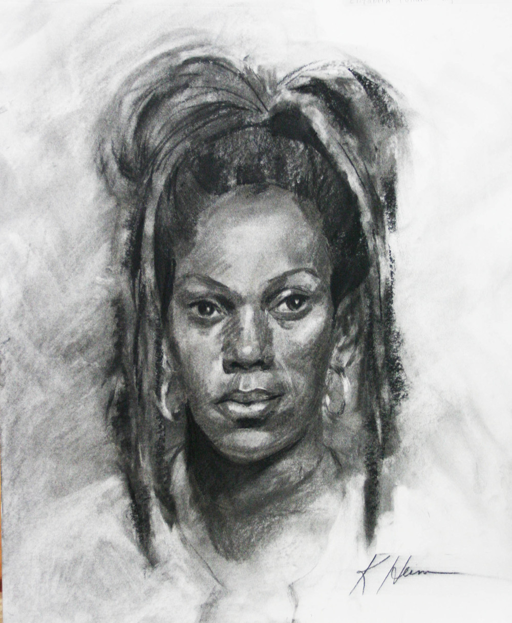 Kathryn Heim did this two and a half hour charcoal drawing.