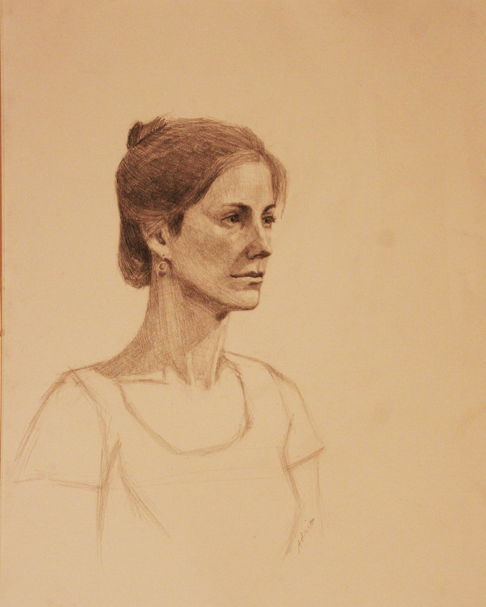 Adrian Eisenhower did this 3-hour drawing of his wife.