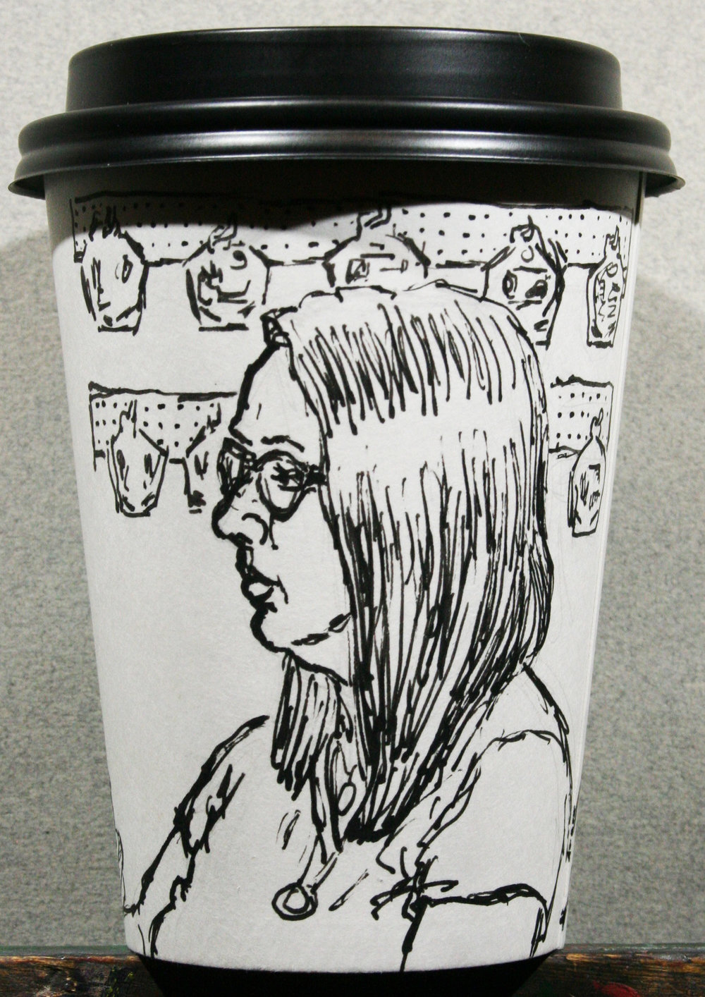 Jack Flotte did this half hour coffee cup portrait.