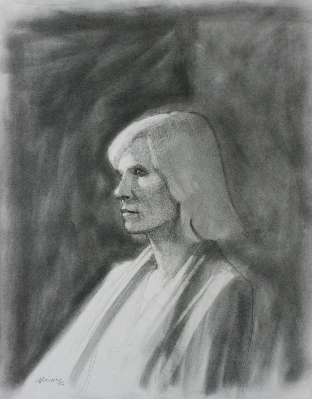 Adrian Eisenhower did this 3-hour charcoal drawing.