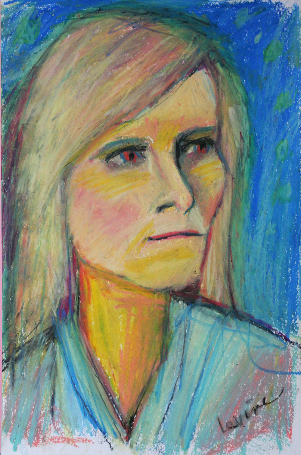 Phyllis Peterson Levine did this 3-hour oil pastel drawing.