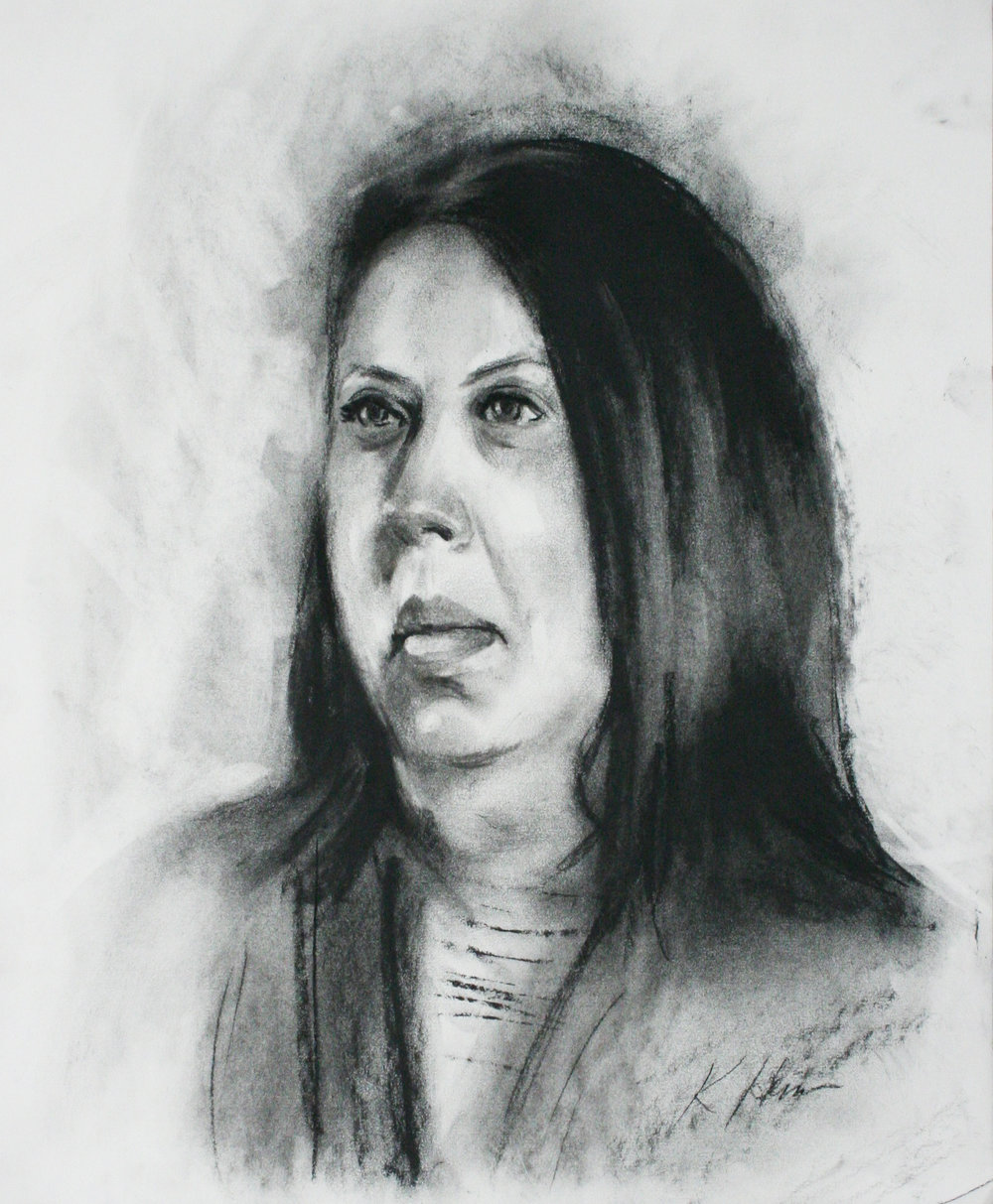 Kathryn Heim did this hour charcoal drawing.