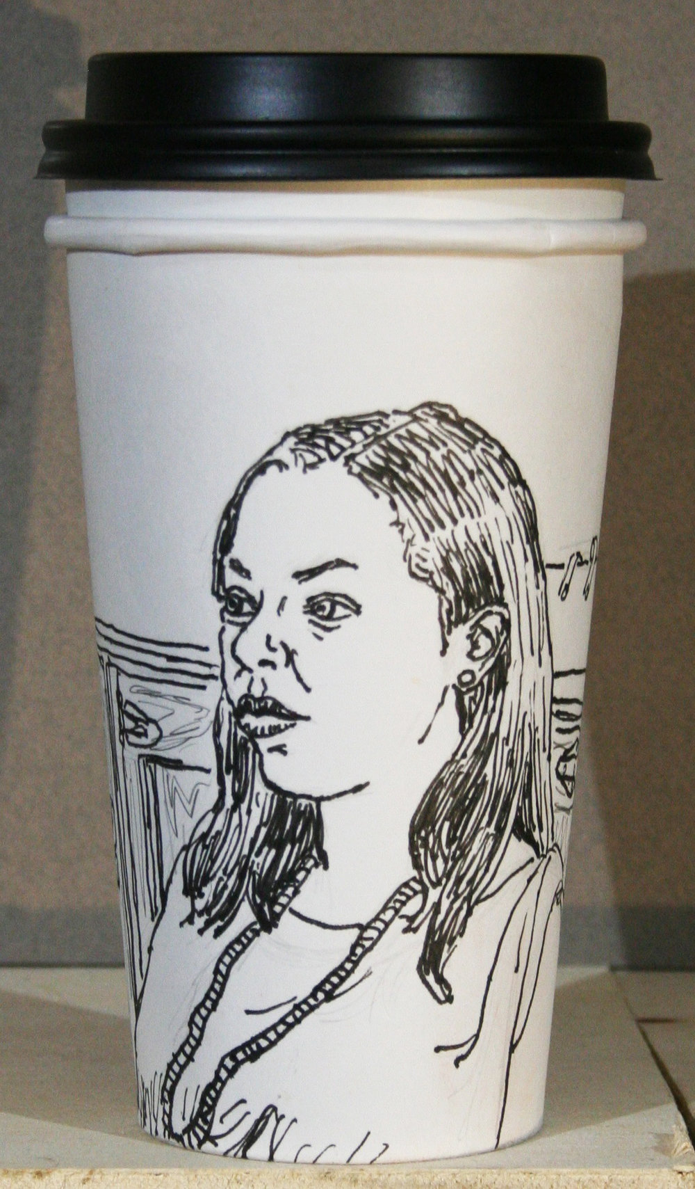 Jack Flotte did this coffee cup ink portrait.