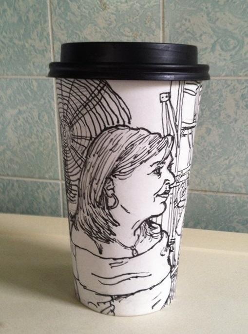 Jack Flotte's hour and a half coffee cup portrait