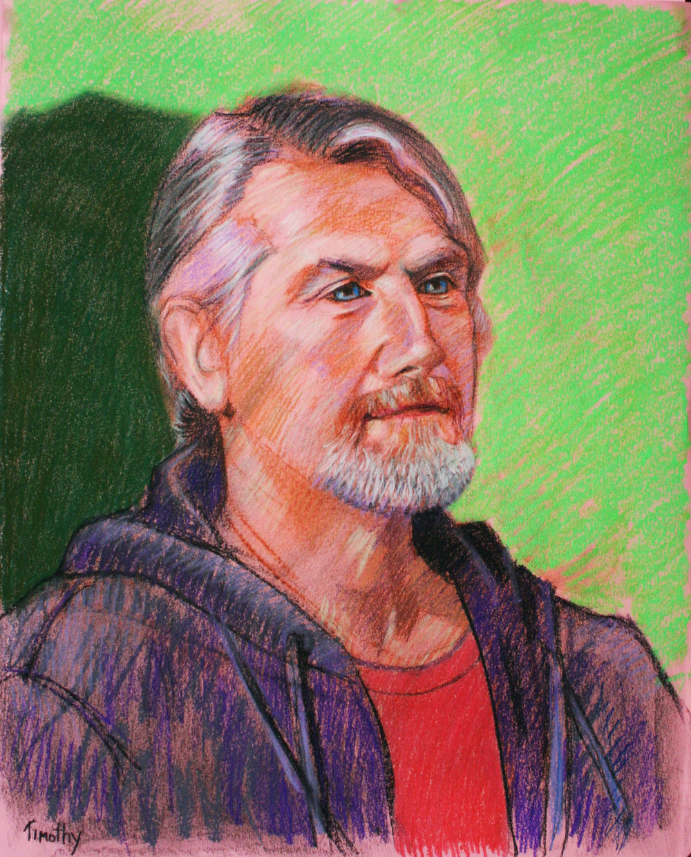 Brian Kilgallon drawn at Forest City Brewery. pastel