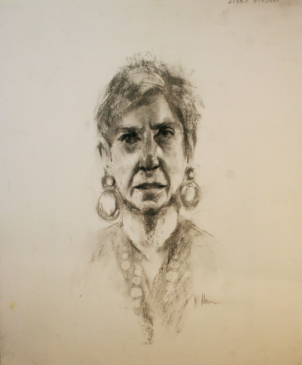 Kathryn Heim did this charcoal sketch.