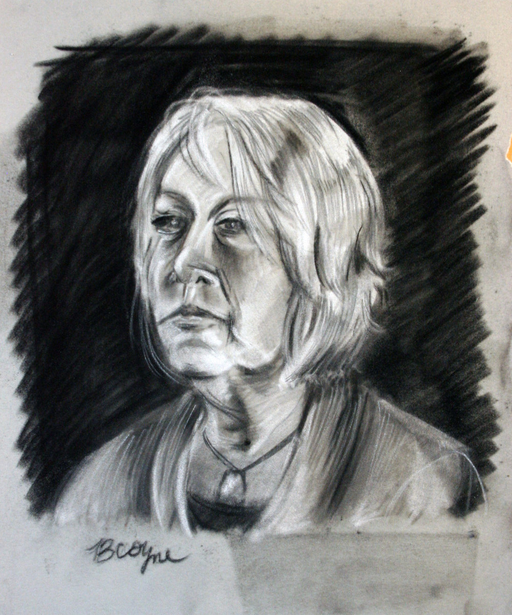 Bridgette Coyne did this charcoal drawing.