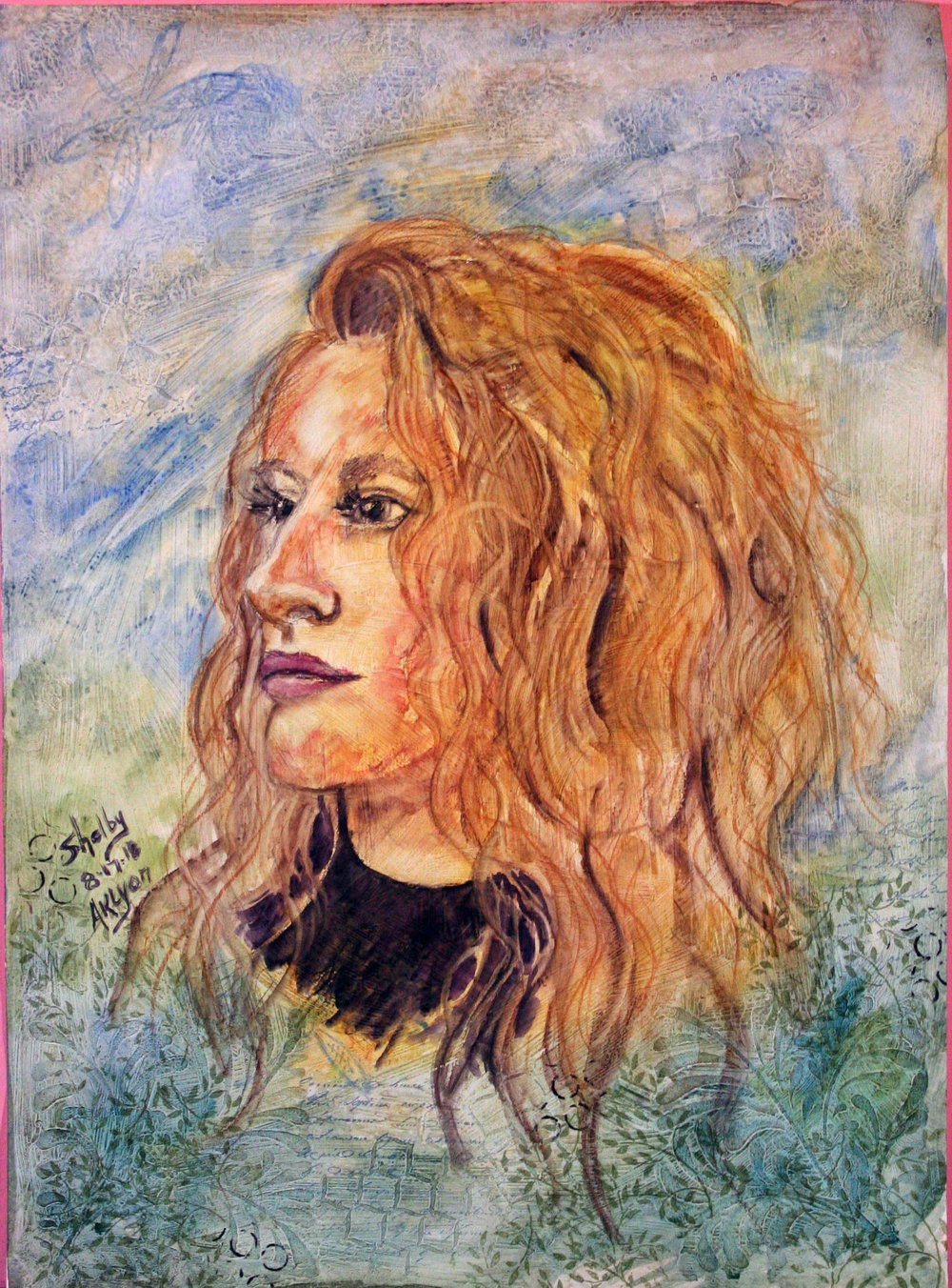 Anne Lyon did this mixed media portrait.