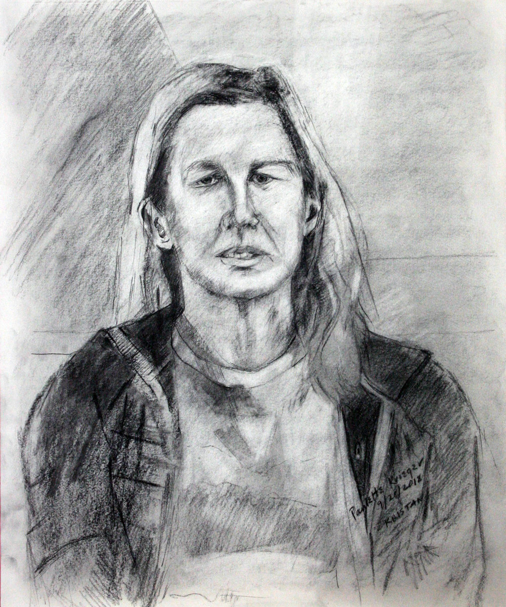 Paulette Krieger did this charcoal drawing.