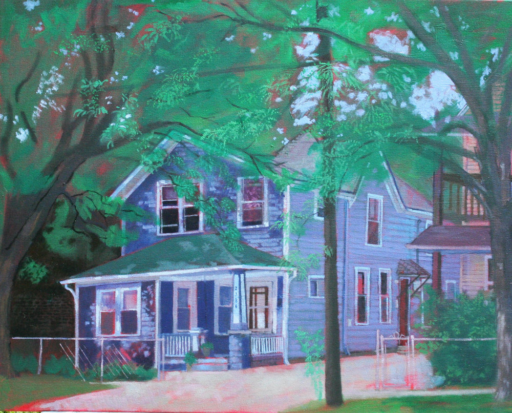 The house on Professor that friend and artists Amy Casey lives in Cleveland, Ohio. Painted from across the street.