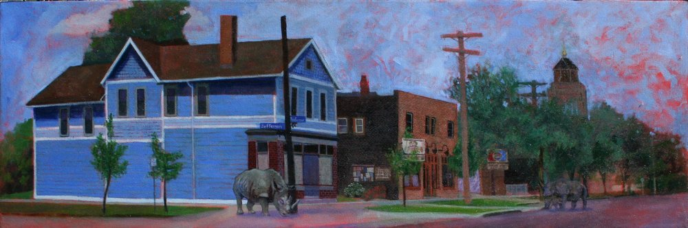 Professor Av and Jefferson Ave in Tremont. Painted from across the street.
