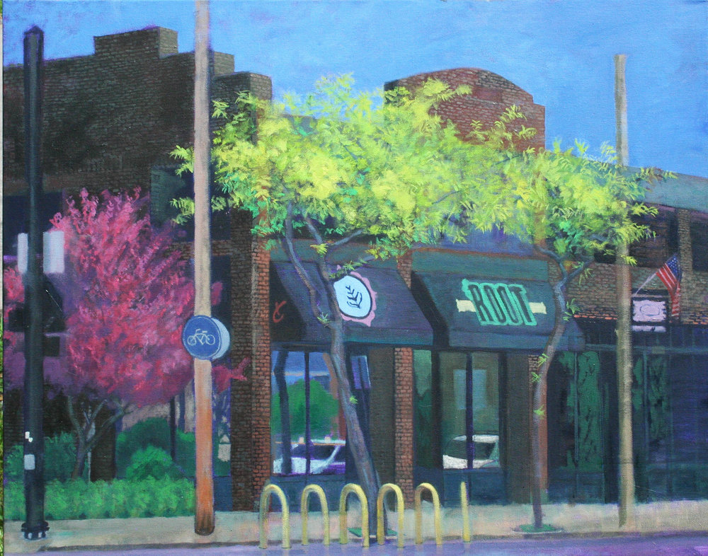 Root Cafe in Lakewood, Ohio. Painted from across the street.