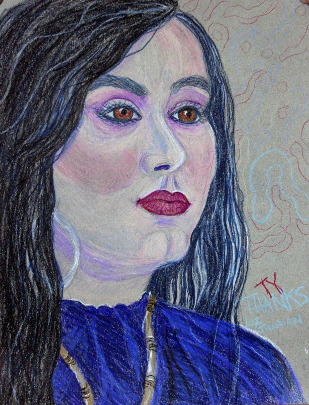 Liz Gulaian did this pastel drawing.