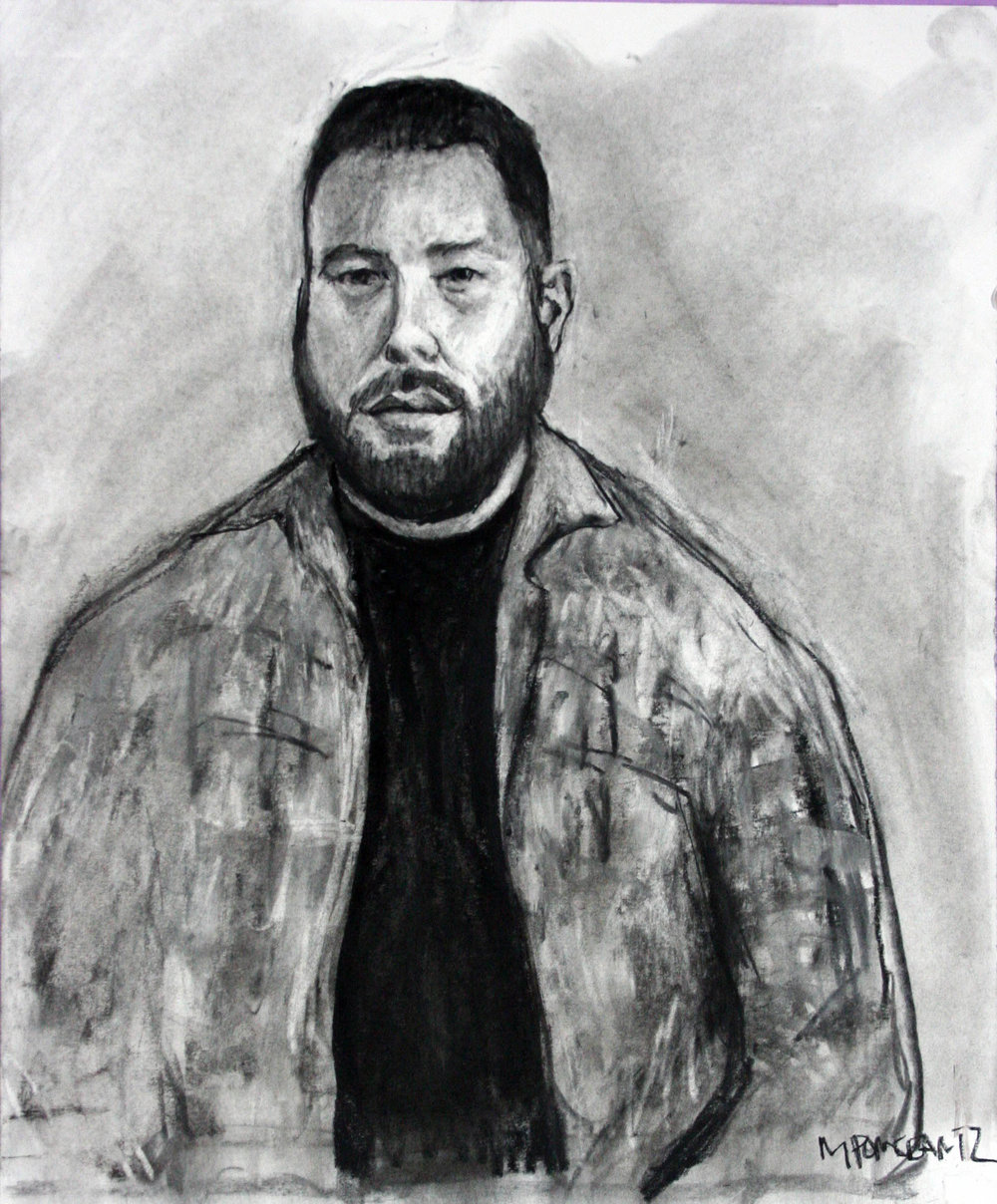 Michael Pomerantz did this charcoal drawing.