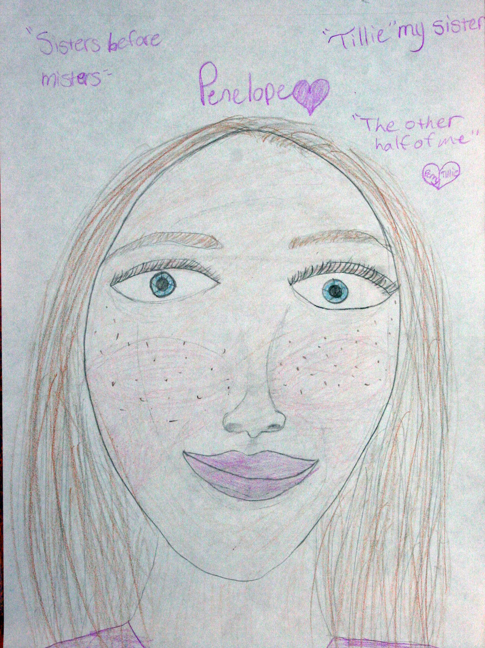 Penny did this drawing of her sister Tillie.