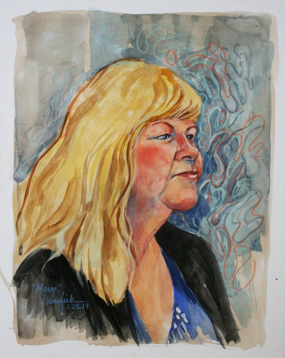 Nancy Lick did this mixed media drawing.