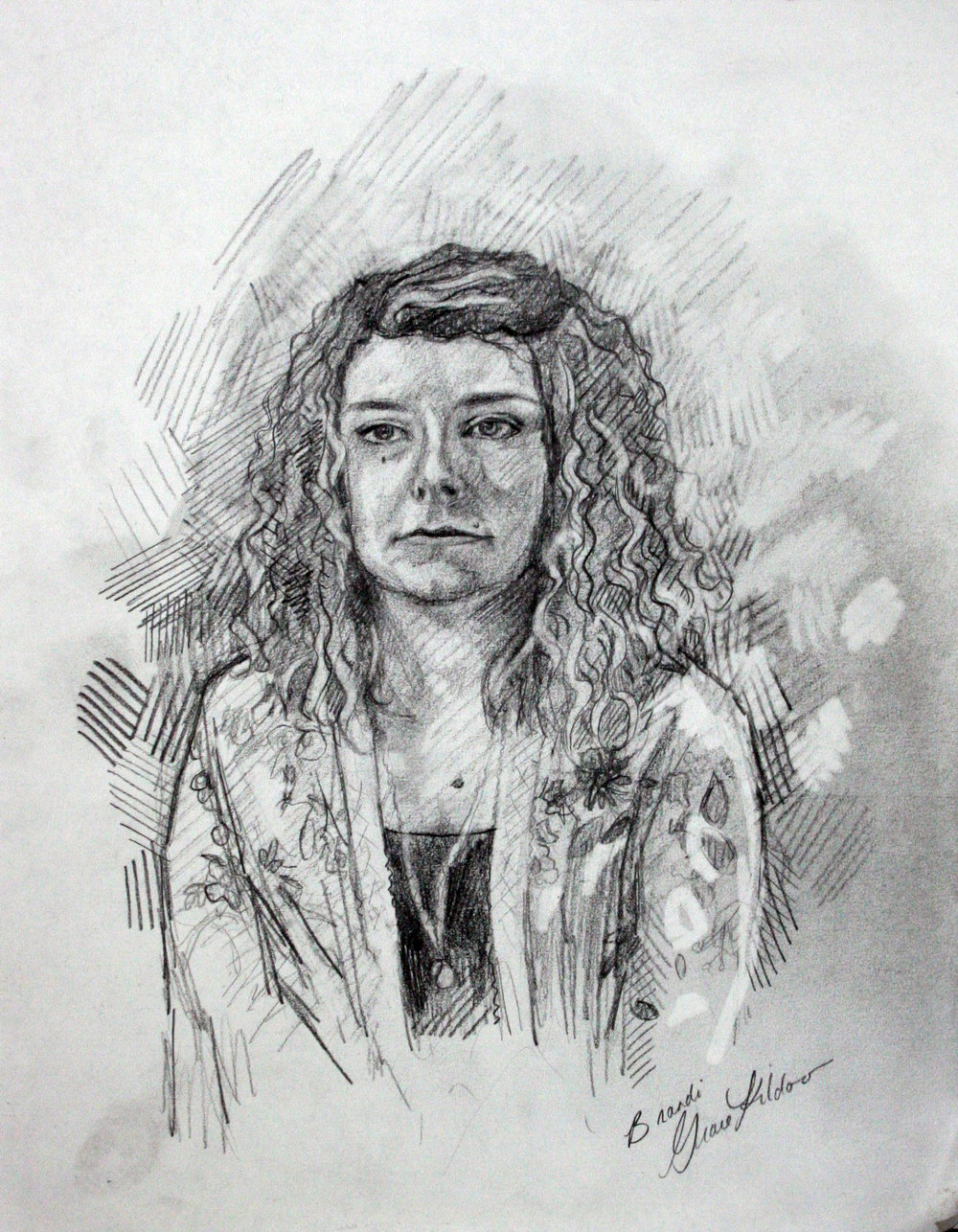 Grace Kildoo McConnell did this charcoal drawing.