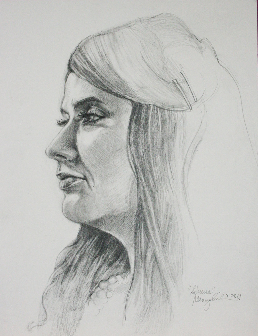 Nancy Lick did this charcoal drawing.