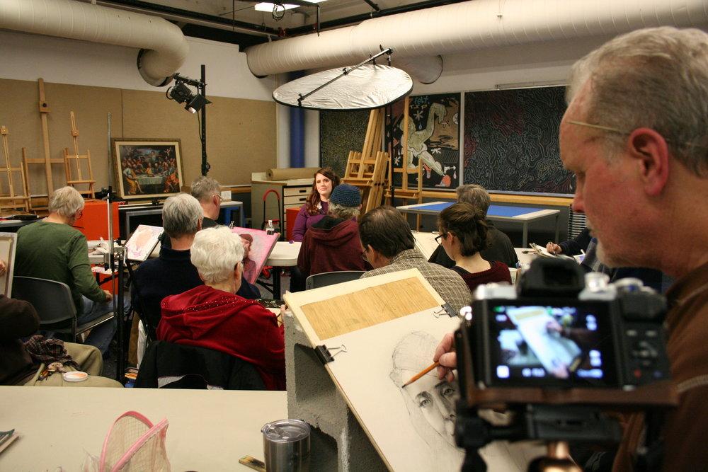 John Scavnicky under a time lapse recording.