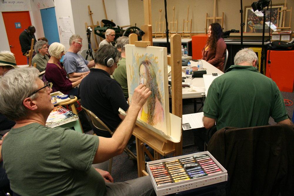 John Troxell working on his drawing of Corinna.