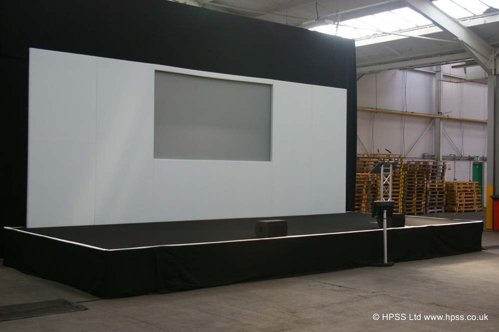 Basic stage with set and screen