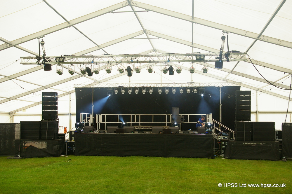 PA system for festival in marquee