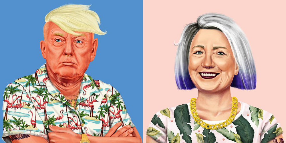 Amit Shimoni made these, and you can buy them like I did. (This Hillary looks exactly like me anddddddd I can use hipster Trump as a dartboard. So.)