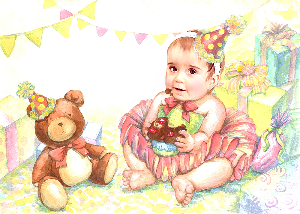 New Illustration - Birthday Girl    Available as a JPG file, printed on art paper/ canvas, Post card