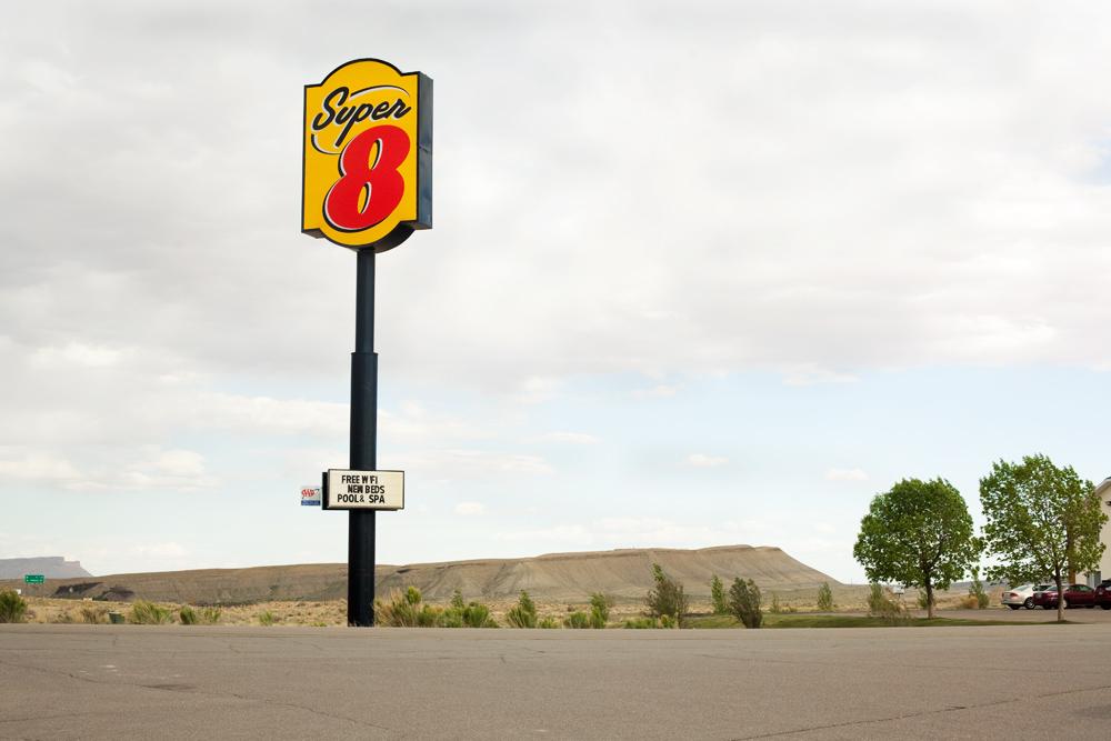 Super 8 parking lot, Utah, USA.
