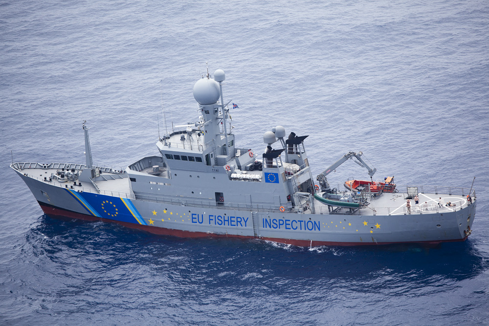 An EU fishery inspection ship on patrol in the Meidterranean. Photo by Michelle McCarron.