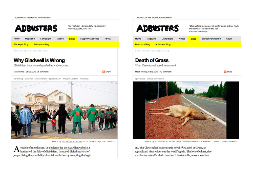 Adbusters Online, Sept 2010