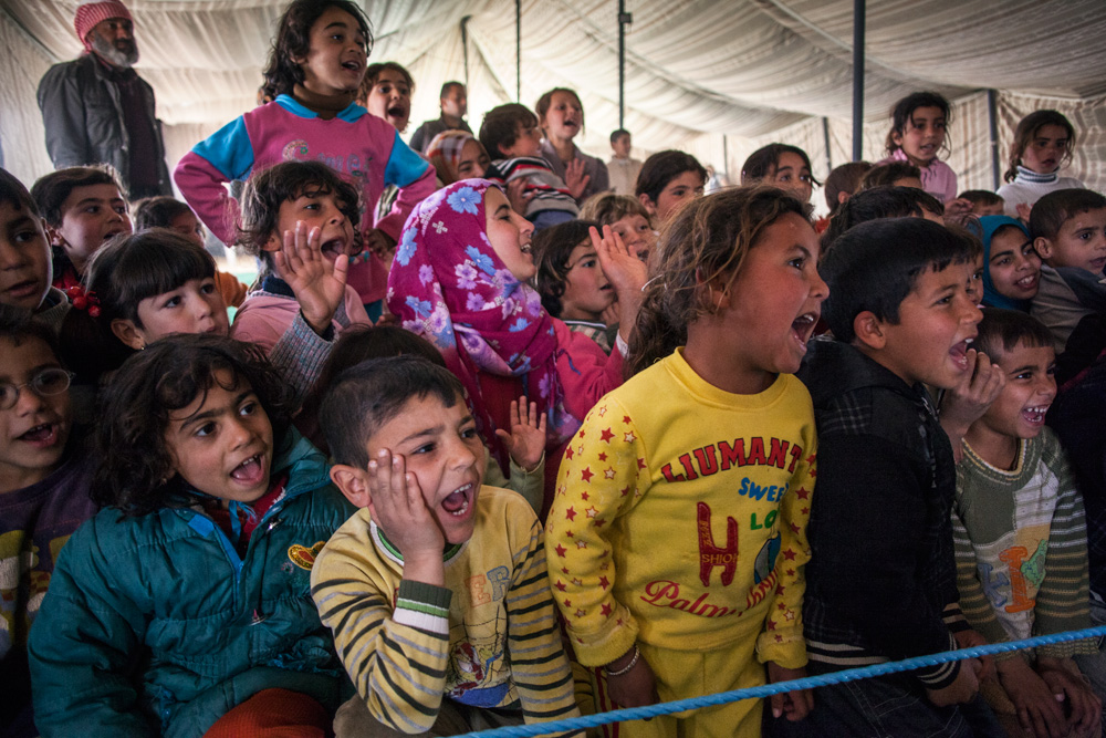 Excitement levels run high at a Clowns Without Borders Ireland performance. There are few outlets for children that allow for the release from the monotony and hardship of life in a refugee camp.