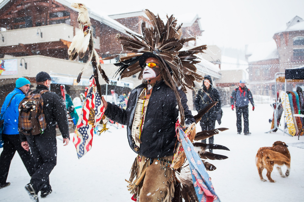 Tribal nation leaders and the Buffalo Field Campaign stage a walk in at Big Sky Ski resort to highlight the slaughter, March 2016