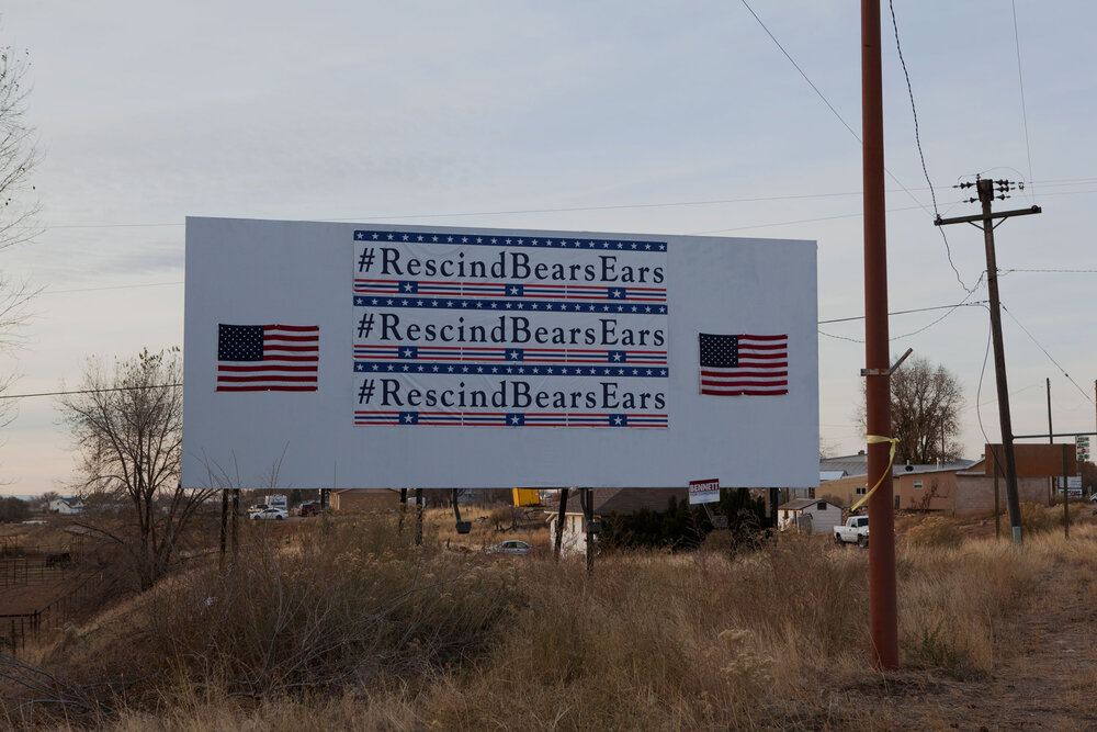 Blanding, Utah, 11/17. In 2017 the Trump administration removed protections from thousands of acres of public lands many of which are sacred lands to native Americans such as those at Bears Ears National Monument. The move opens the lands to mining and drilling within the Colorado River's drainage basin.