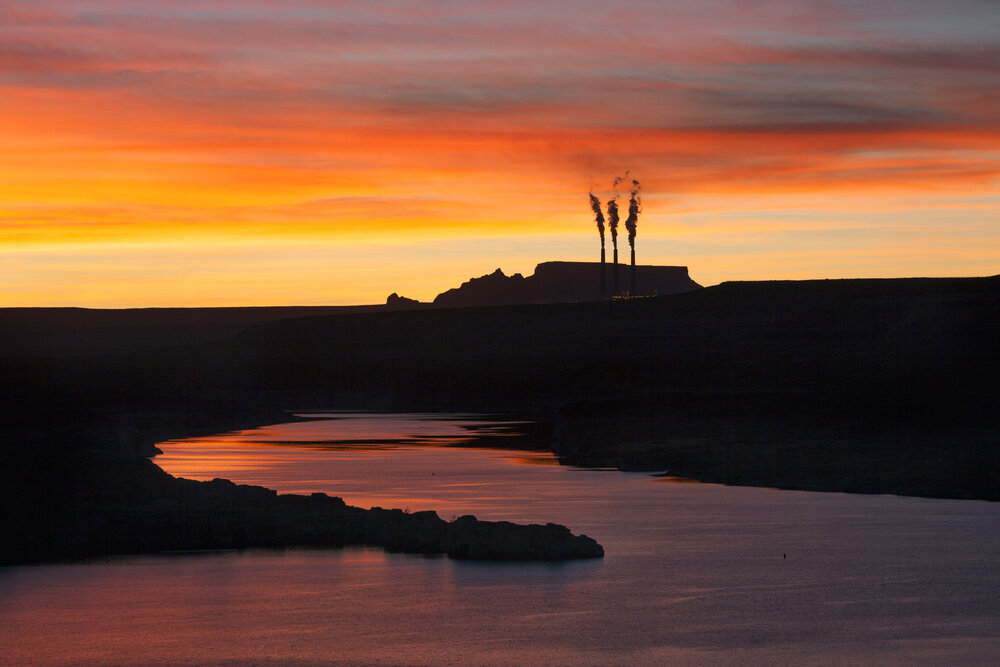 The Navajo coal fired electricity plant on the 'Lake' Powell reservoir of the Colorado. The plant also pumps Colorado river water to desert cities in Arizona fueling an ultimately unsustainable population boom. The plant is scheduled to close in 2019 because of competition from a fracking boom.