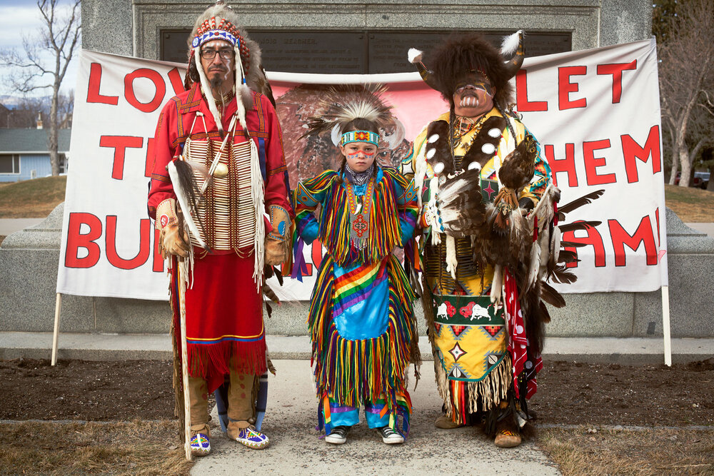 Helena, Montana, Feb 10, 2015. People from various tribes and conservation groups across Montana held a public meeting against the Yellowstone buffalo slaughter on the steps in front of the state capitol building.