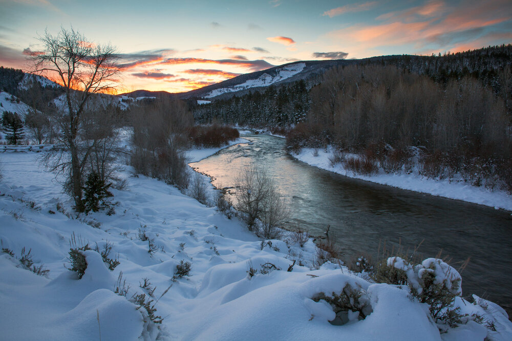 Day breaks on the Gros Ventre river in the Bridger Teton National Forest, western Wyoming, an area which encompasses the heart of the study area of the Teton Cougar Project.