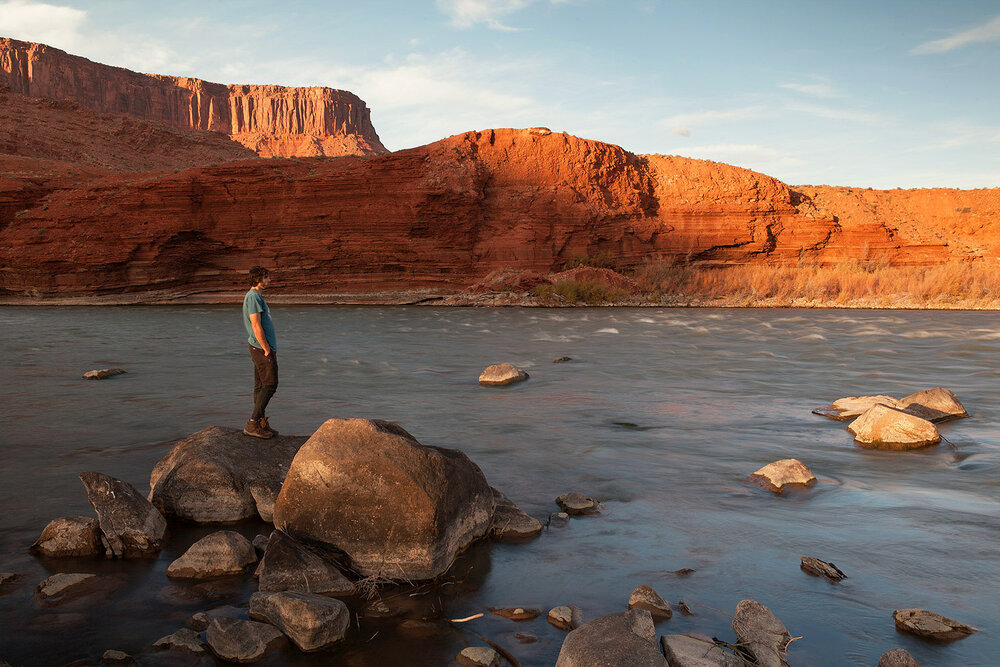 Will Falk, writer and a 'next friend' of the Colorado river in the lawsuit against the state of Colorado seeking Rights of Nature for the river on the banks of the river in Moab, Utah. October 2017.
