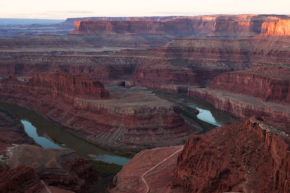 The Colorado river makes it's way through the Canyonlands of Utah. Almost 1500 miles long it is the country's most heavily exploited river serving 30 million people in 7 US states and Mexico. From it's headwaters in Rocky Mountain National Park it no longer reaches the ocean in the Gulf of Mexico.