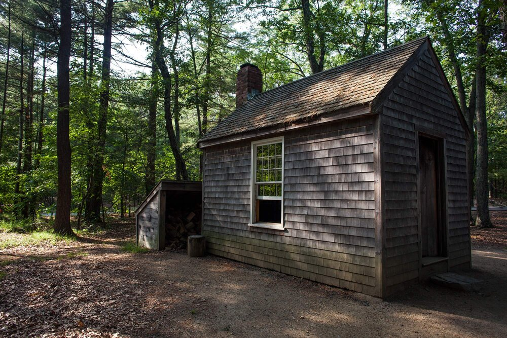 "A replica of Throeau's cabin at Walden Pond State Reservation Thoreau built his cabin for his experiment in living ""to front only the essential facts of life""."